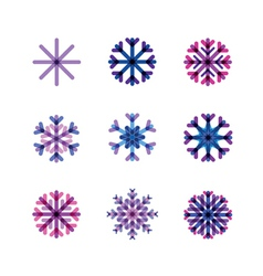 set from snowflakes in cold tones vector image