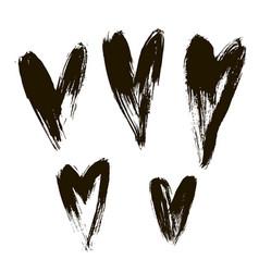 set hearts ink brush on white vector image