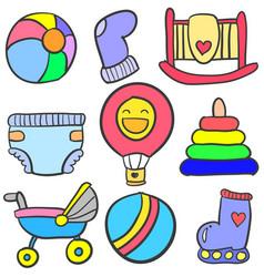 Set of baby element doodles vector
