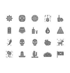 Set of mexican culture grey icons tequila vector