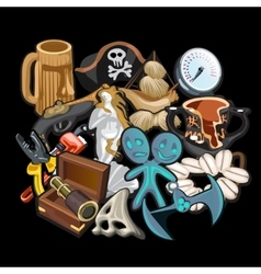 Set of pirate accessories tools and toys vector