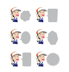Set of smile mechanic cartoon wrench in hand with vector image