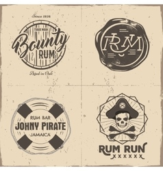 Set of vintage handcrafted pirates emblems labels vector