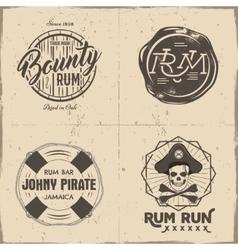 Set vintage handcrafted pirates emblems labels vector