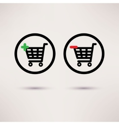 Shopping cart icons Plus and minus signs set vector