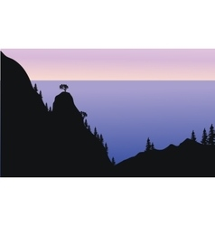 Silhouette forest on mountain vector
