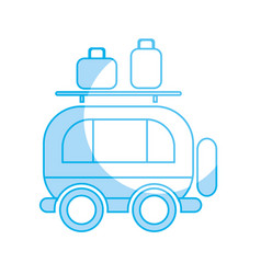 Silhouette van transportation with bags to travel vector