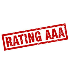 square grunge red rating aaa stamp vector image