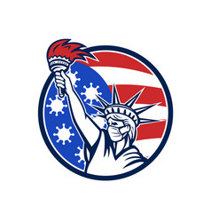 Statue liberty with mask covid-19 flag icon vector