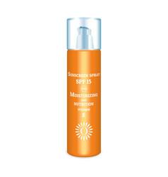 Sunscreen spray icon realistic style vector