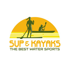 Sup and kayak water sports retro vector