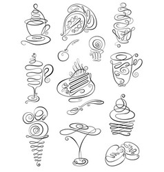 sweet hand drawn doodles with coffee tea latte vector image
