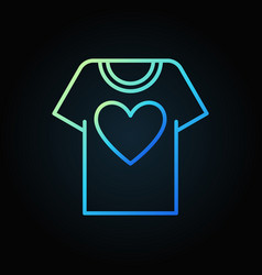t-shirt with heart blue outline icon vector image