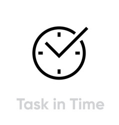 task in time icon editable outline vector image