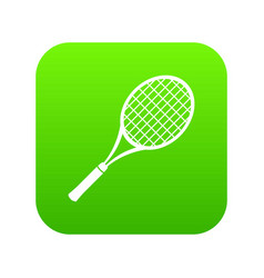 tennis racket icon green vector image