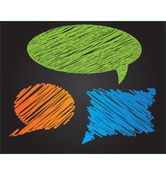 Three colorful doodle style speech bubbles vector