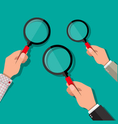 three hands holding a magnifying glass vector image