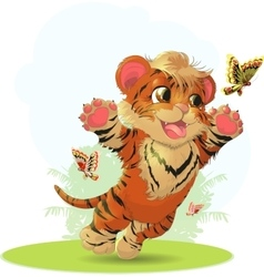 Tiger and butterfly vector