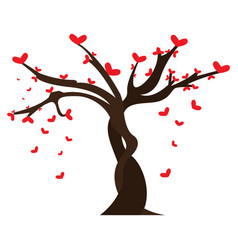 tree with heart shaped leaves vector image