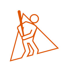 Triangle shape baseball sport figure outline vector