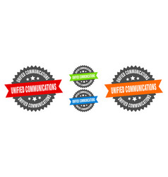 Unified communications sign round ribbon label vector