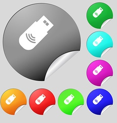 usb Icon sign Set of eight multi colored round vector image