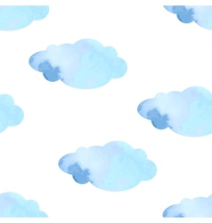 Watercolor clouds seamless pattern vector