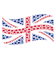 Waving great britain flag collage of boom bang vector