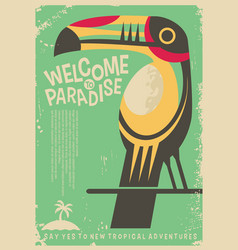 welcome to paradise retro poster design vector image