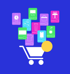 white shopping cart and mobile application icons vector image