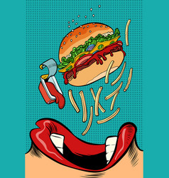 woman mouth eating a burger vector image