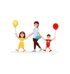 Young mother walking with her little children mom vector