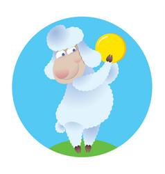 cartoon sheep holding gold coin vector image vector image
