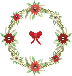 Christmas Floral wreath with red bow set vector image vector image