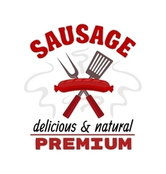 Delicious grilled sausage food label vector image vector image