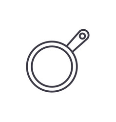 frying pan line icon sign on vector image vector image