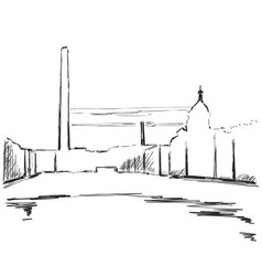 industrial landscape sketch drawing for your vector image vector image