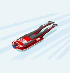 skeleton sled race winter sports vector image