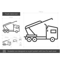 Truck crane line icon vector