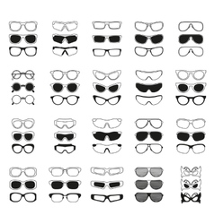 fashionable glasses simple black icons set vector image