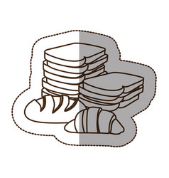 Figure various types of bread icon vector