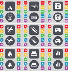 Game console Keyboard Floppy disk Scissors vector image