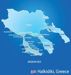 Peninsula of Halkidiki in Greece map vector image vector image