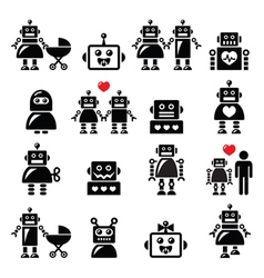 Robot family female baby robot icons set vector image