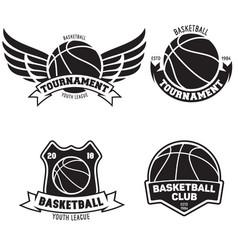 set of basketball sport emblems design element vector image vector image