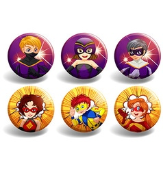 Superhero on round badges vector image vector image