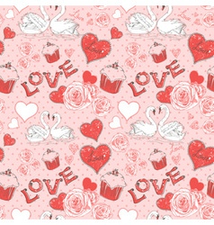 Valentine romantic seamless pattern with hearts vector image vector image