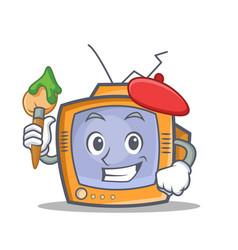 Artist tv character cartoon object vector