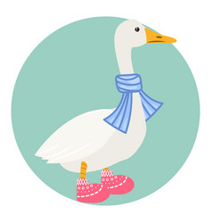 cartoon duck in scarf isolated vector image vector image