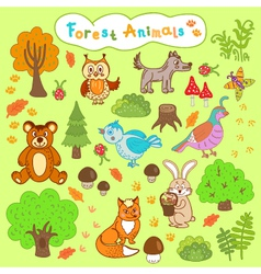 children is drawings forest animals vector image vector image